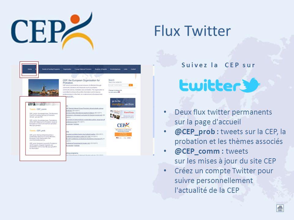 Flux Twitter Deux flux twitter permanents sur la page d'accueil @CEP_prob : tweets sur la CEP, la probation et les thèmes associés @CEP_comm : tweets