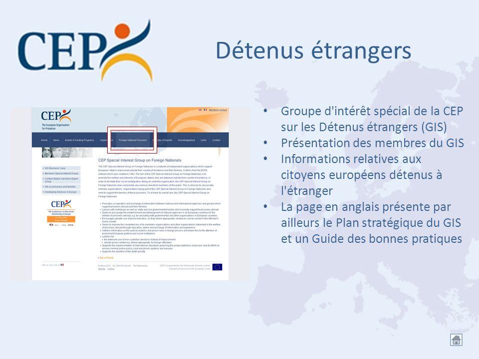 Détenus étrangers Groupe d'intérêt spécial de la CEP sur les Détenus étrangers (GIS) Présentation des membres du GIS Informations relatives aux citoye