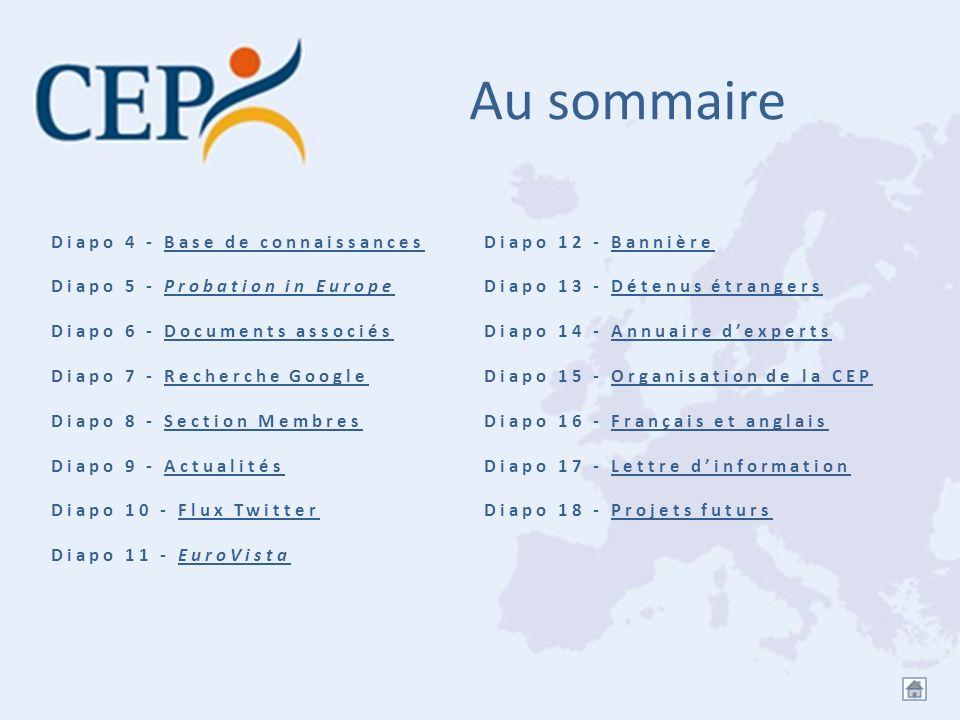 Au sommaire Diapo 4 - Base de connaissancesBase de connaissances Diapo 5 - Probation in EuropeProbation in Europe Diapo 6 - Documents associésDocument