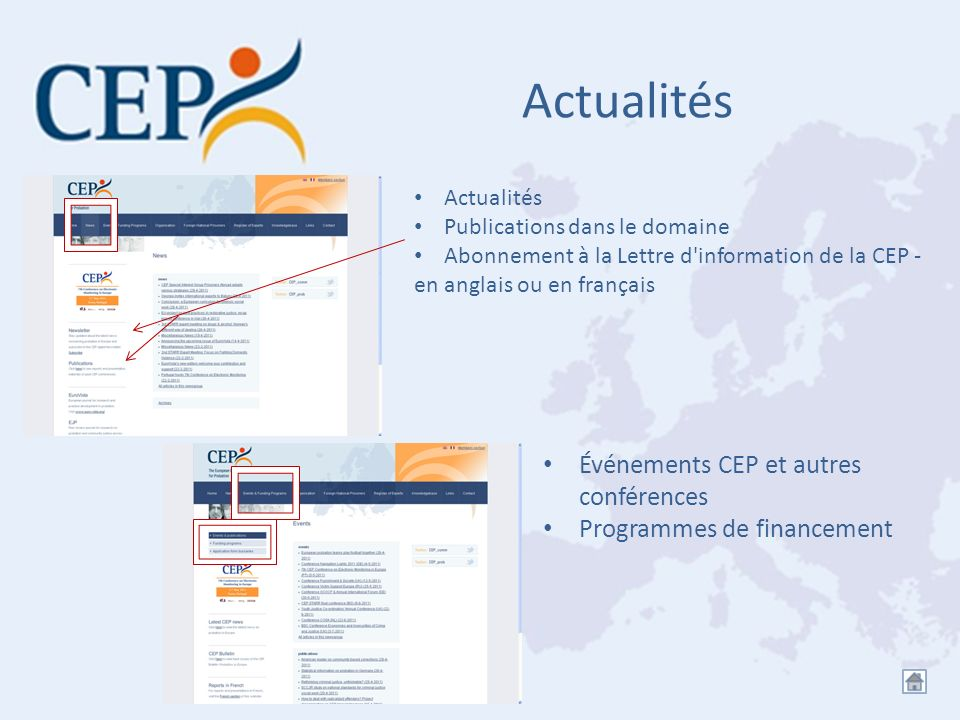 Actualités Événements CEP et autres conférences Programmes de financement Actualités Publications dans le domaine Abonnement à la Lettre d'information