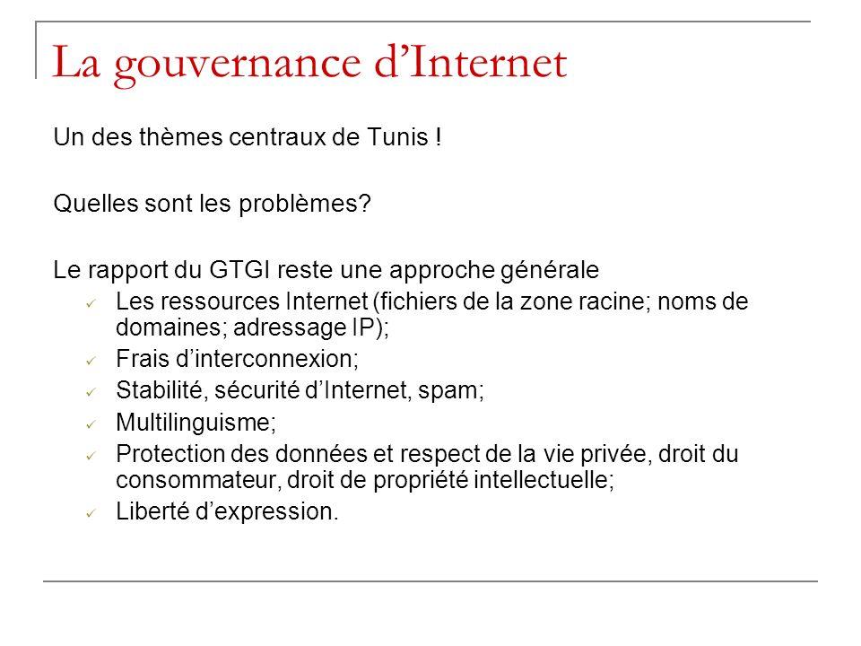 La gouvernance dInternet Un des thèmes centraux de Tunis ! Quelles sont les problèmes? Le rapport du GTGI reste une approche générale Les ressources I