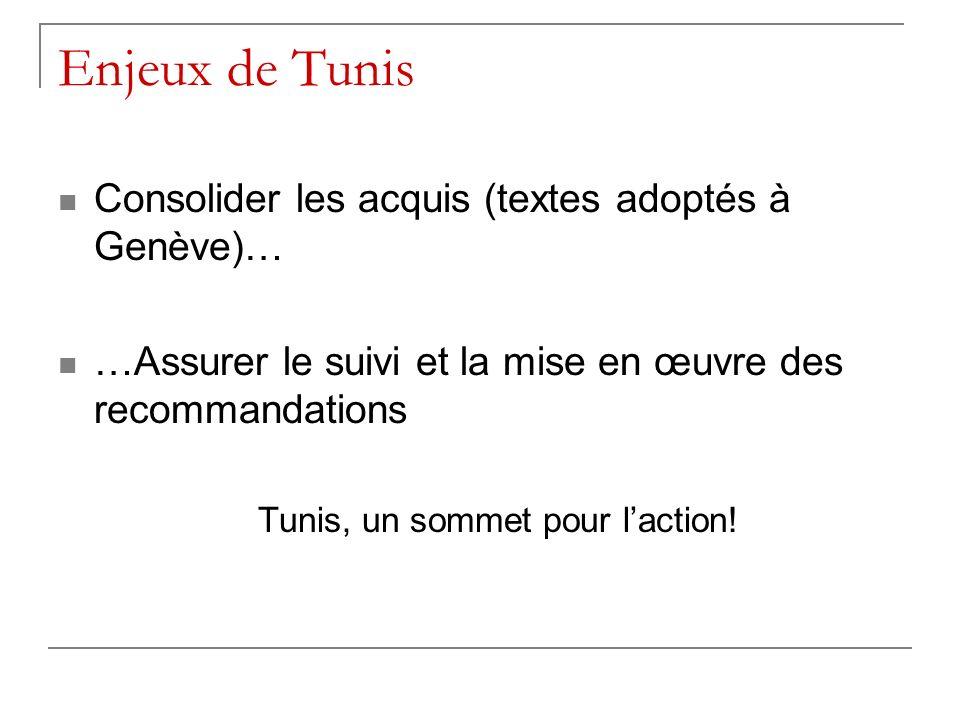 Enjeux de Tunis Consolider les acquis (textes adoptés à Genève)… …Assurer le suivi et la mise en œuvre des recommandations Tunis, un sommet pour lacti