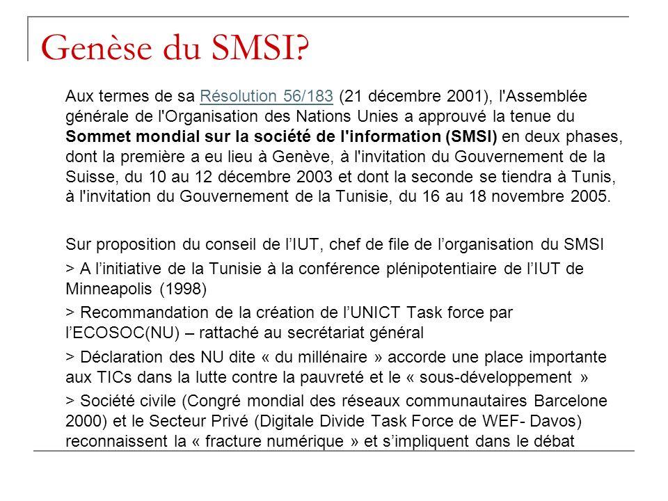 Genèse du SMSI? Aux termes de sa Résolution 56/183 (21 décembre 2001), l'Assemblée générale de l'Organisation des Nations Unies a approuvé la tenue du