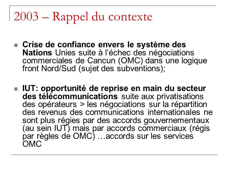 2003 – Rappel du contexte Crise de confiance envers le système des Nations Unies suite à léchec des négociations commerciales de Cancun (OMC) dans une