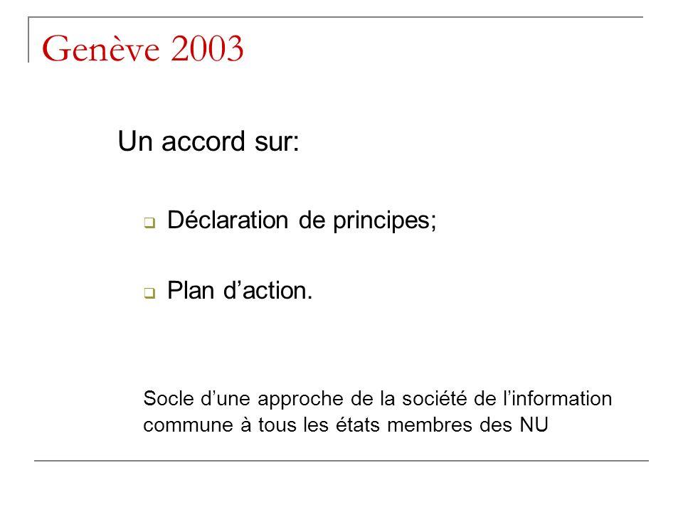 Genève 2003 Un accord sur: Déclaration de principes; Plan daction. Socle dune approche de la société de linformation commune à tous les états membres