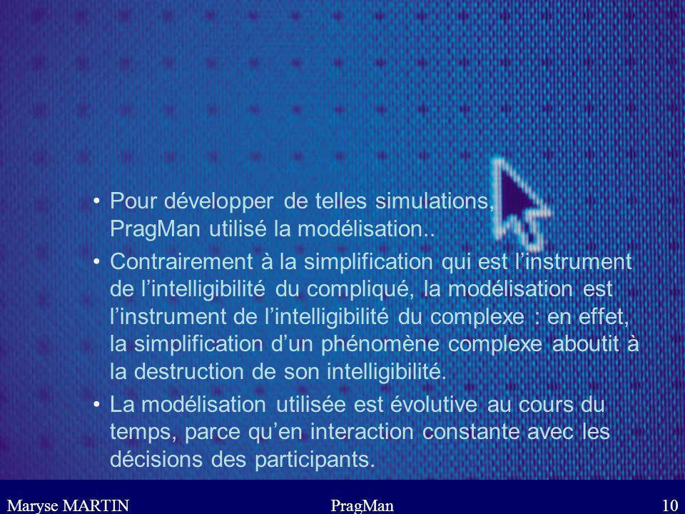 Maryse MARTINPragMan10 Pour développer de telles simulations, PragMan utilisé la modélisation.. Contrairement à la simplification qui est linstrument