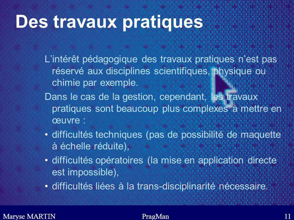 Maryse MARTINPragMan11 Des travaux pratiques Lintérêt pédagogique des travaux pratiques nest pas réservé aux disciplines scientifiques, physique ou ch