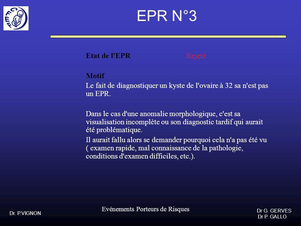 Dr. P.VIGNON Dr G. GERVES Dr P. GALLO Evénements Porteurs de Risques EPR N°3 Etat de l'EPR Rejeté Motif Le fait de diagnostiquer un kyste de l'ovaire