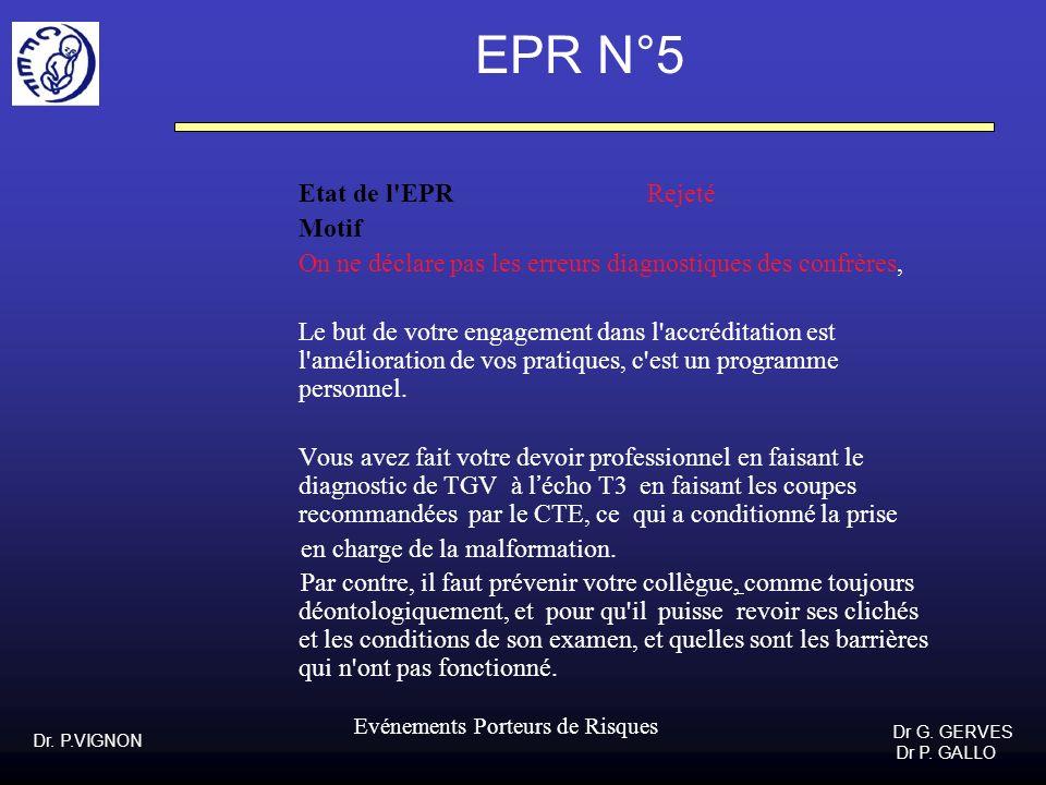 Dr. P.VIGNON Dr G. GERVES Dr P. GALLO Evénements Porteurs de Risques EPR N°5 Etat de l'EPR Rejeté Motif On ne déclare pas les erreurs diagnostiques de