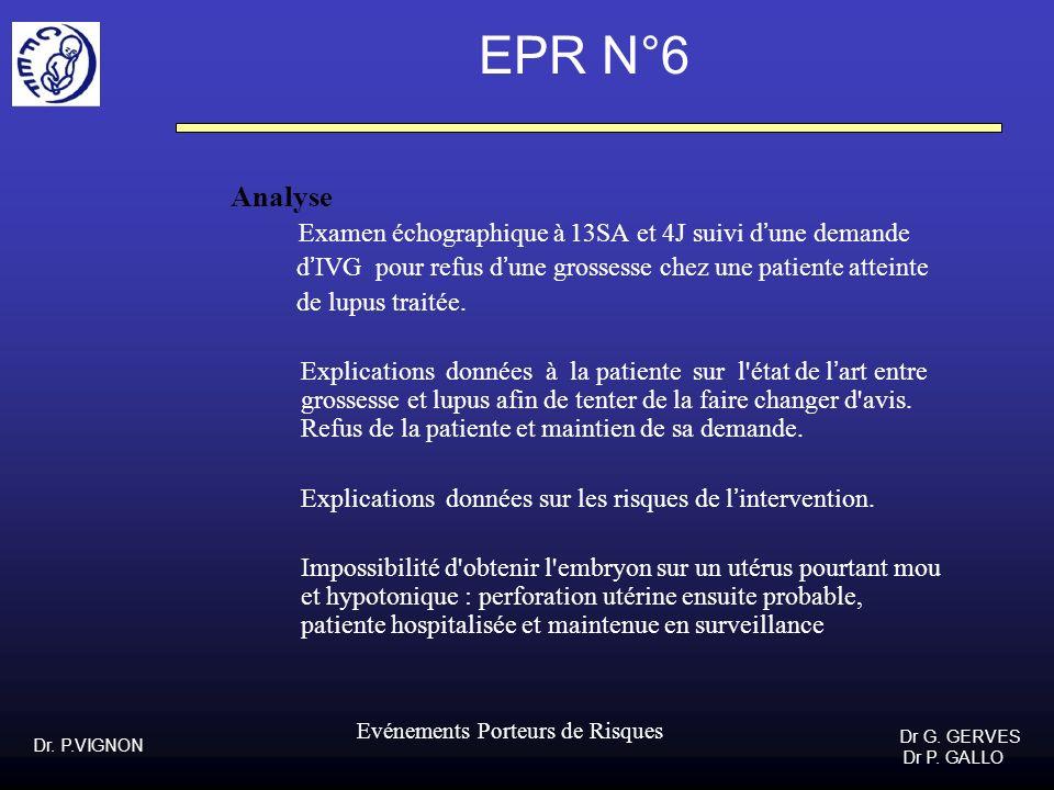 Dr. P.VIGNON Dr G. GERVES Dr P. GALLO Evénements Porteurs de Risques EPR N°6 Analyse Examen échographique à 13SA et 4J suivi dune demande dIVG pour re