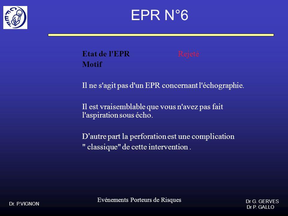Dr. P.VIGNON Dr G. GERVES Dr P. GALLO Evénements Porteurs de Risques EPR N°6 Etat de l'EPR Rejeté Motif Il ne s'agit pas d'un EPR concernant l'échogra