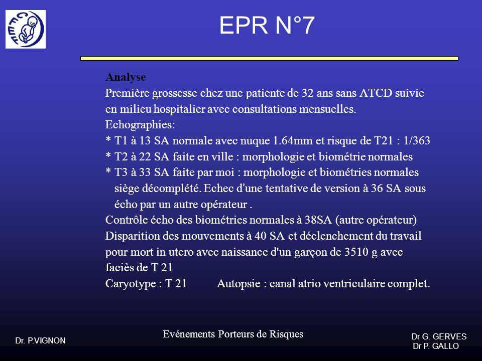 Dr. P.VIGNON Dr G. GERVES Dr P. GALLO Evénements Porteurs de Risques EPR N°7 Analyse Première grossesse chez une patiente de 32 ans sans ATCD suivie e