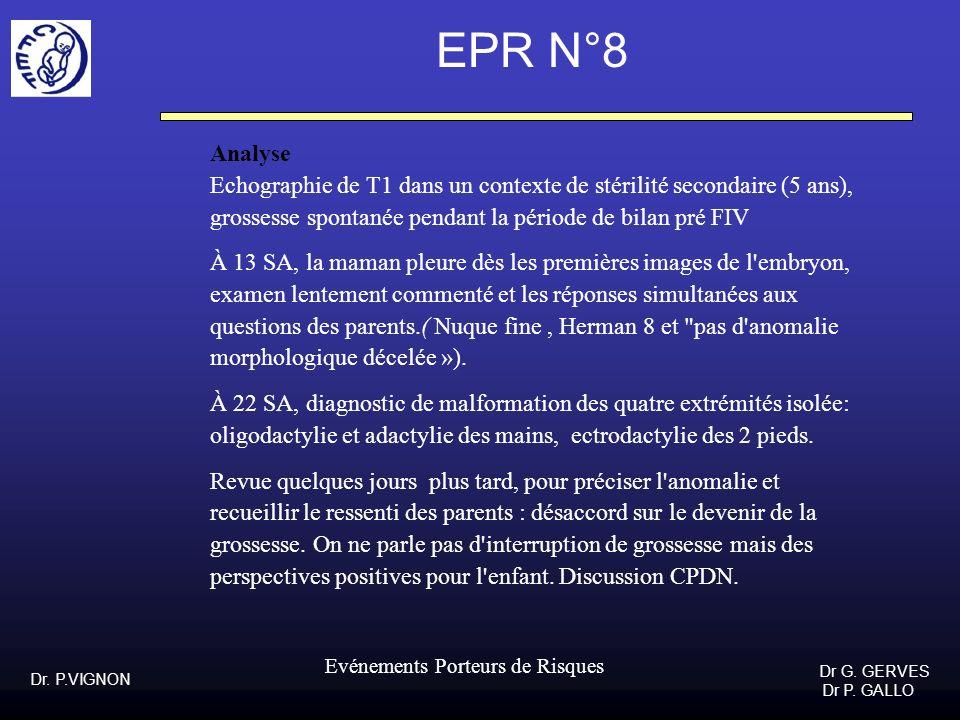 Dr. P.VIGNON Dr G. GERVES Dr P. GALLO Evénements Porteurs de Risques EPR N°8 Analyse Echographie de T1 dans un contexte de stérilité secondaire (5 ans