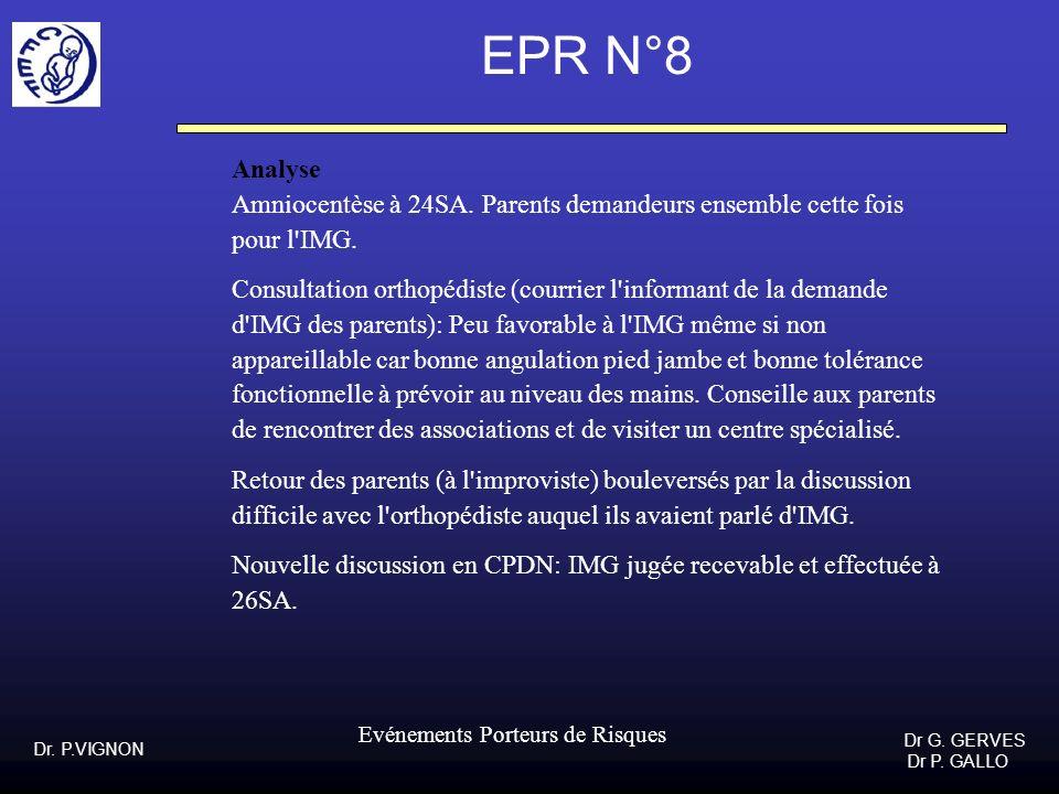 Dr. P.VIGNON Dr G. GERVES Dr P. GALLO Evénements Porteurs de Risques EPR N°8 Analyse Amniocentèse à 24SA. Parents demandeurs ensemble cette fois pour