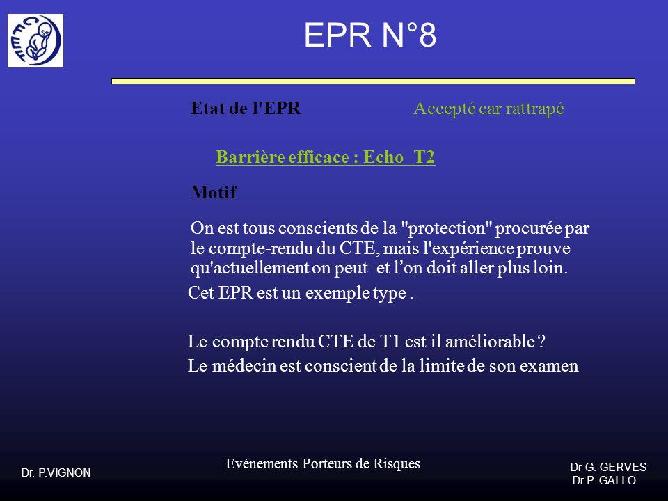 Dr. P.VIGNON Dr G. GERVES Dr P. GALLO Evénements Porteurs de Risques EPR N°8 Etat de l'EPR Accepté car rattrapé Barrière efficace : Echo T2 Motif On e