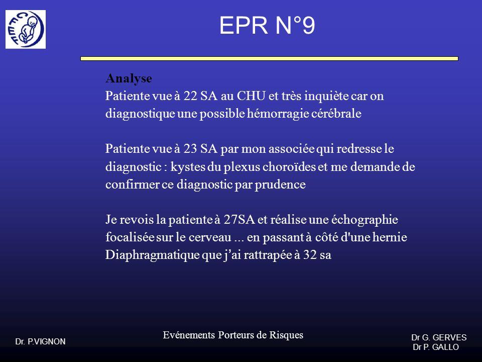 Dr. P.VIGNON Dr G. GERVES Dr P. GALLO Evénements Porteurs de Risques EPR N°9 Analyse Patiente vue à 22 SA au CHU et très inquiète car on diagnostique