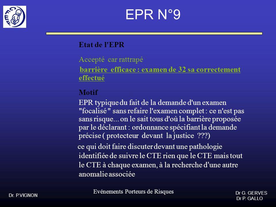 Dr. P.VIGNON Dr G. GERVES Dr P. GALLO Evénements Porteurs de Risques EPR N°9 Etat de l'EPR Accepté car rattrapé barrière efficace : examen de 32 sa co