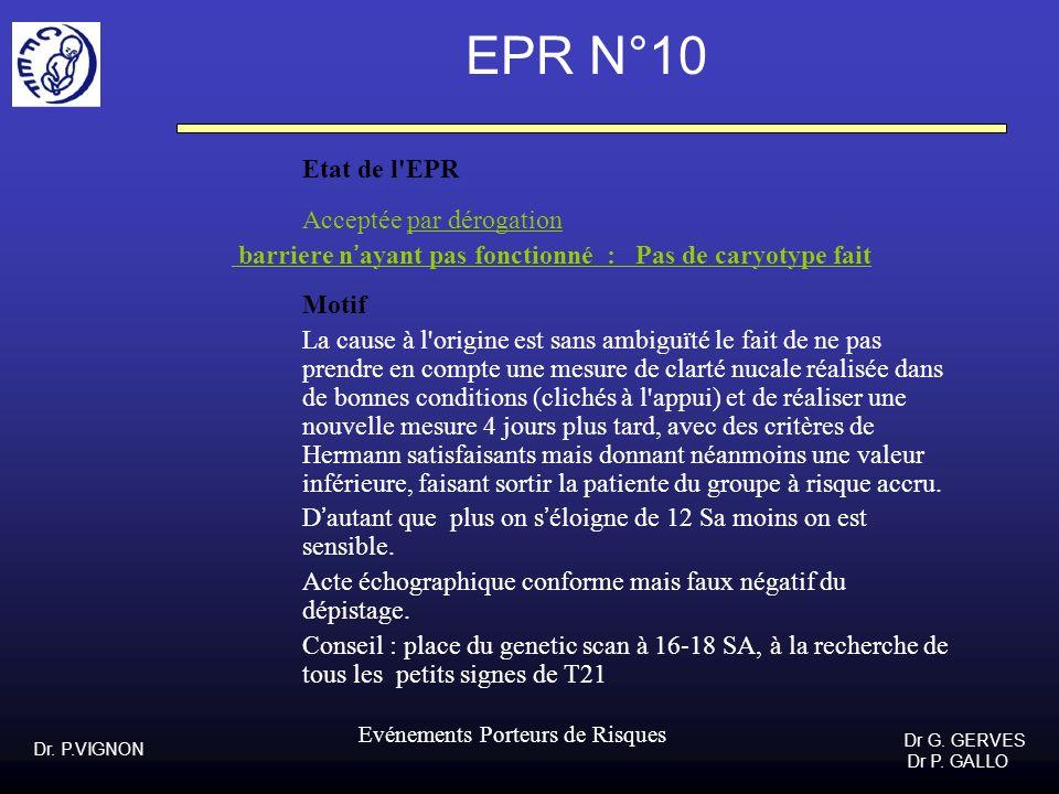 Dr. P.VIGNON Dr G. GERVES Dr P. GALLO Evénements Porteurs de Risques EPR N°10 Etat de l'EPR Acceptée par dérogation barriere nayant pas fonctionné : P