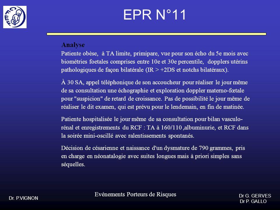 Dr. P.VIGNON Dr G. GERVES Dr P. GALLO Evénements Porteurs de Risques EPR N°11 Analyse Patiente obèse, à TA limite, primipare, vue pour son écho du 5e