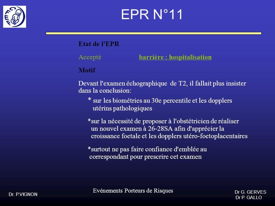 Dr. P.VIGNON Dr G. GERVES Dr P. GALLO Evénements Porteurs de Risques EPR N°11 Etat de l'EPR Accepté barrière : hospitalisation Motif Devant l'examen é