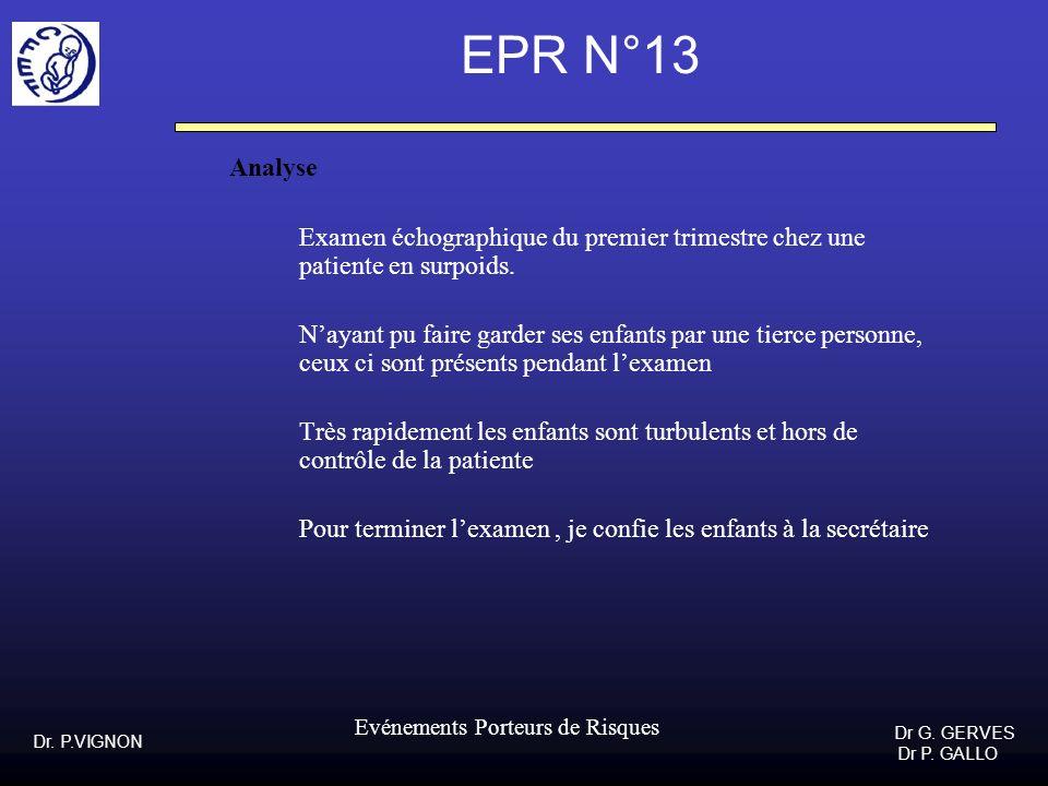 Dr. P.VIGNON Dr G. GERVES Dr P. GALLO Evénements Porteurs de Risques EPR N°13 Analyse Examen échographique du premier trimestre chez une patiente en s