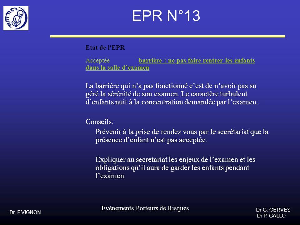 Dr. P.VIGNON Dr G. GERVES Dr P. GALLO Evénements Porteurs de Risques EPR N°13 Etat de l'EPR Acceptée barrière : ne pas faire rentrer les enfants dans