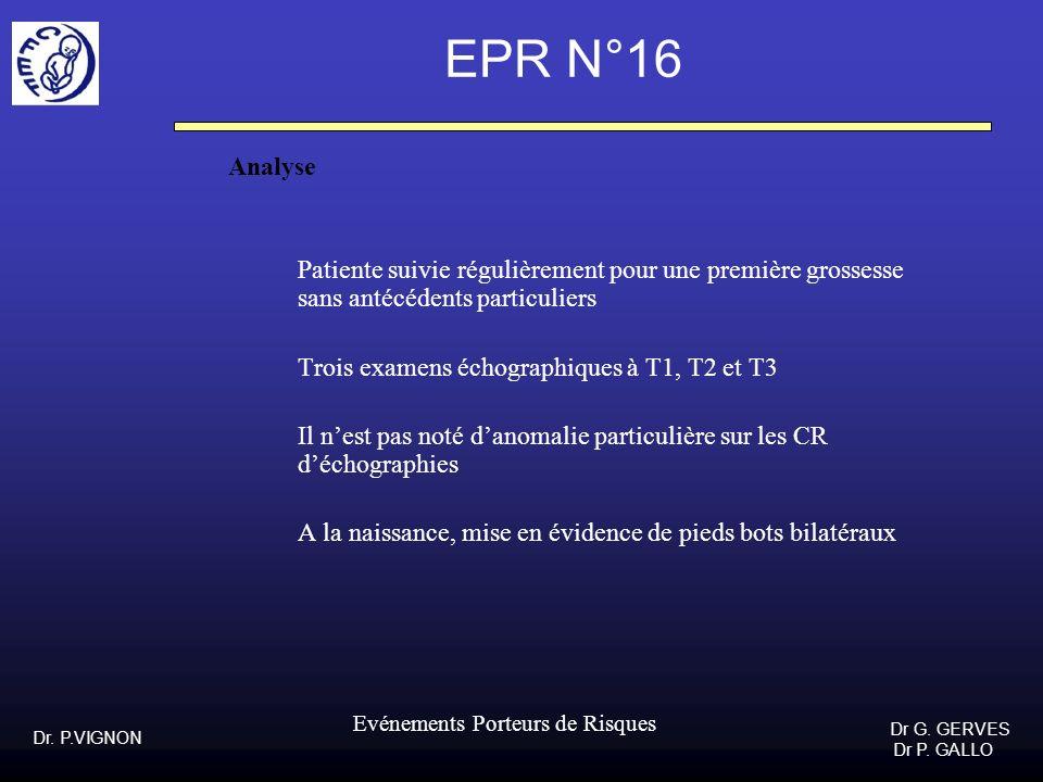 Dr. P.VIGNON Dr G. GERVES Dr P. GALLO Evénements Porteurs de Risques EPR N°16 Analyse Patiente suivie régulièrement pour une première grossesse sans a