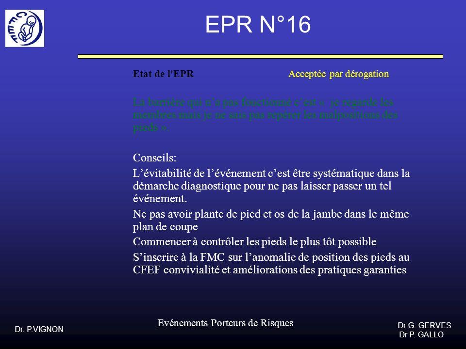 Dr. P.VIGNON Dr G. GERVES Dr P. GALLO Evénements Porteurs de Risques EPR N°16 Etat de l'EPR Acceptée par dérogation La barrière qui na pas fonctionné