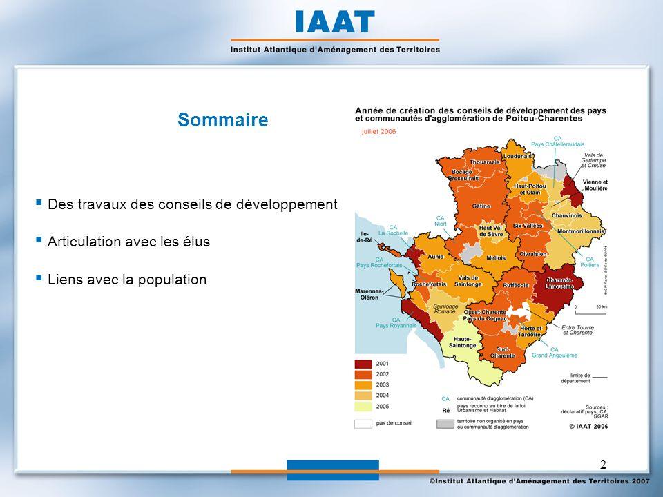 2 Sommaire Des travaux des conseils de développement Articulation avec les élus Liens avec la population