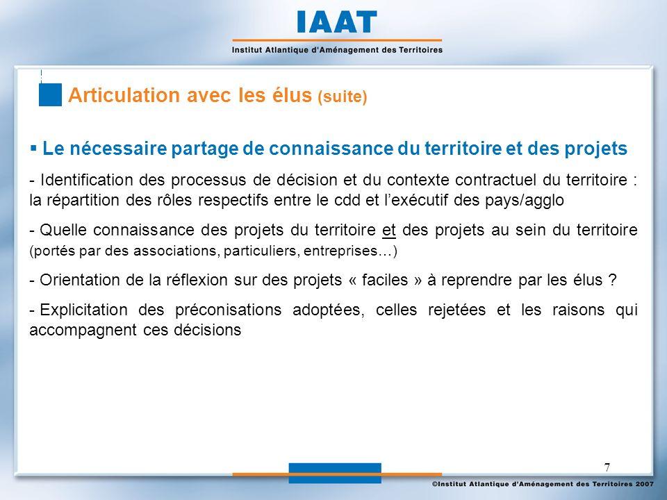 7 Le nécessaire partage de connaissance du territoire et des projets - Identification des processus de décision et du contexte contractuel du territoi