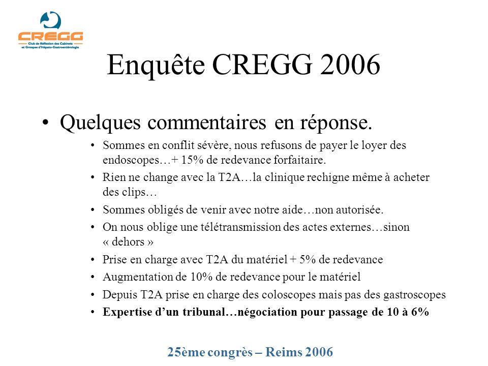 Enquête CREGG 2006 Quelques commentaires en réponse. Sommes en conflit sévère, nous refusons de payer le loyer des endoscopes…+ 15% de redevance forfa