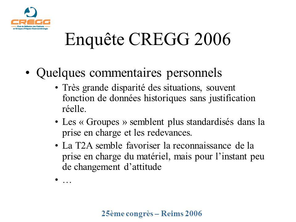 Enquête CREGG 2006 Quelques commentaires personnels Très grande disparité des situations, souvent fonction de données historiques sans justification r