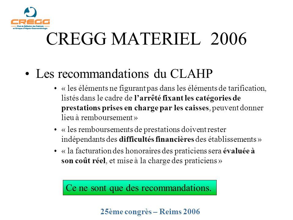 CREGG MATERIEL 2006 Les recommandations du CLAHP « les éléments ne figurant pas dans les éléments de tarification, listés dans le cadre de larrêté fix
