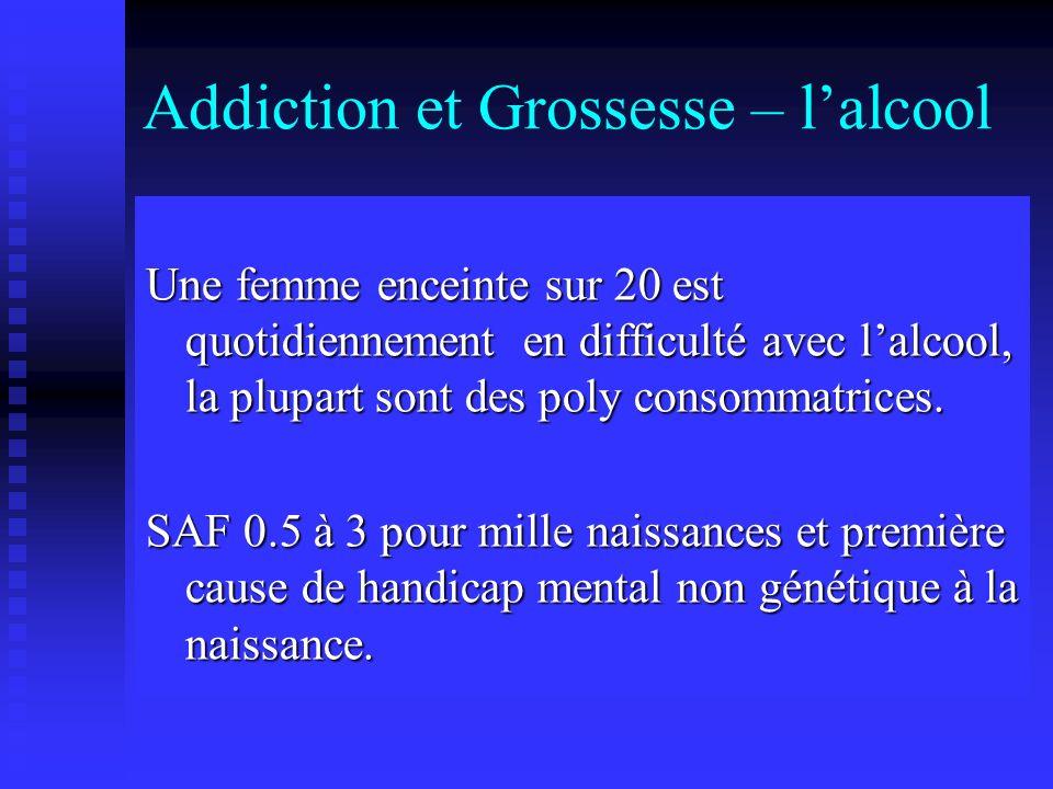 Addiction et Grossesse – lalcool Une femme enceinte sur 20 est quotidiennement en difficulté avec lalcool, la plupart sont des poly consommatrices. SA
