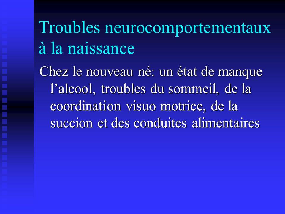Troubles neurocomportementaux à la naissance Chez le nouveau né: un état de manque lalcool, troubles du sommeil, de la coordination visuo motrice, de