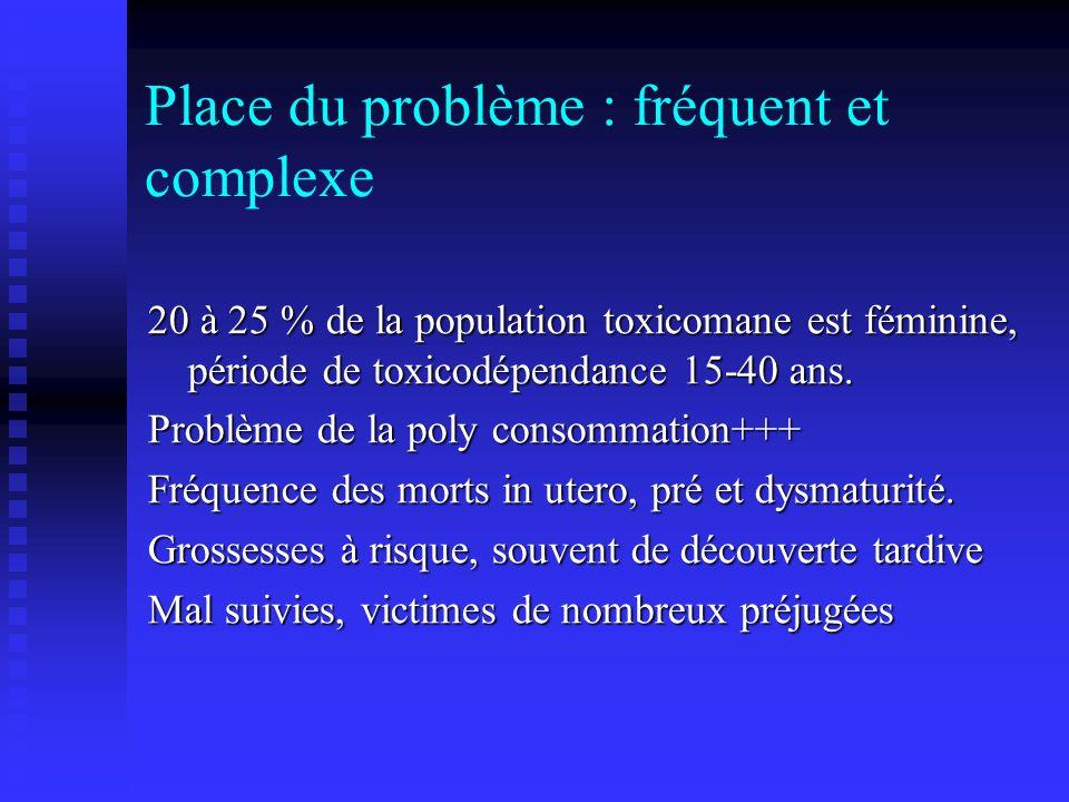 Place du problème : fréquent et complexe 20 à 25 % de la population toxicomane est féminine, période de toxicodépendance 15-40 ans. Problème de la pol
