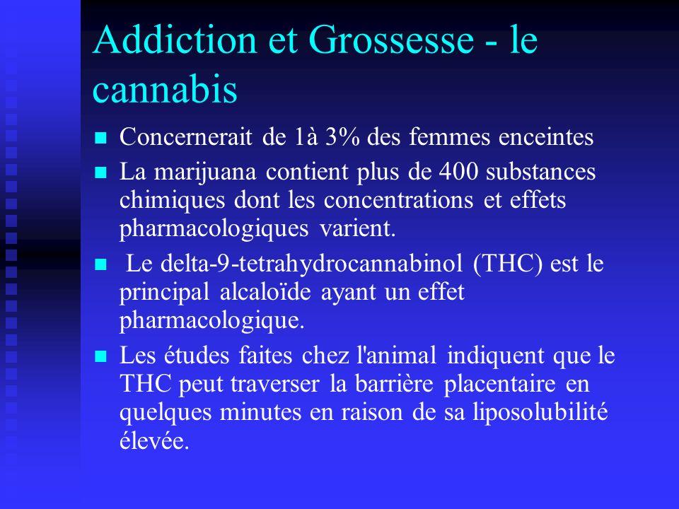 Addiction et Grossesse - le cannabis Concernerait de 1à 3% des femmes enceintes La marijuana contient plus de 400 substances chimiques dont les concen