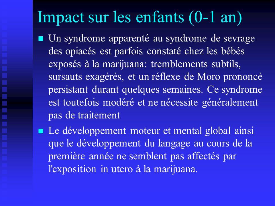 Impact sur les enfants (0-1 an) Un syndrome apparenté au syndrome de sevrage des opiacés est parfois constaté chez les bébés exposés à la marijuana: t