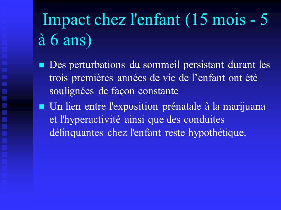 Impact chez l'enfant (15 mois - 5 à 6 ans) Des perturbations du sommeil persistant durant les trois premières années de vie de lenfant ont été soulign