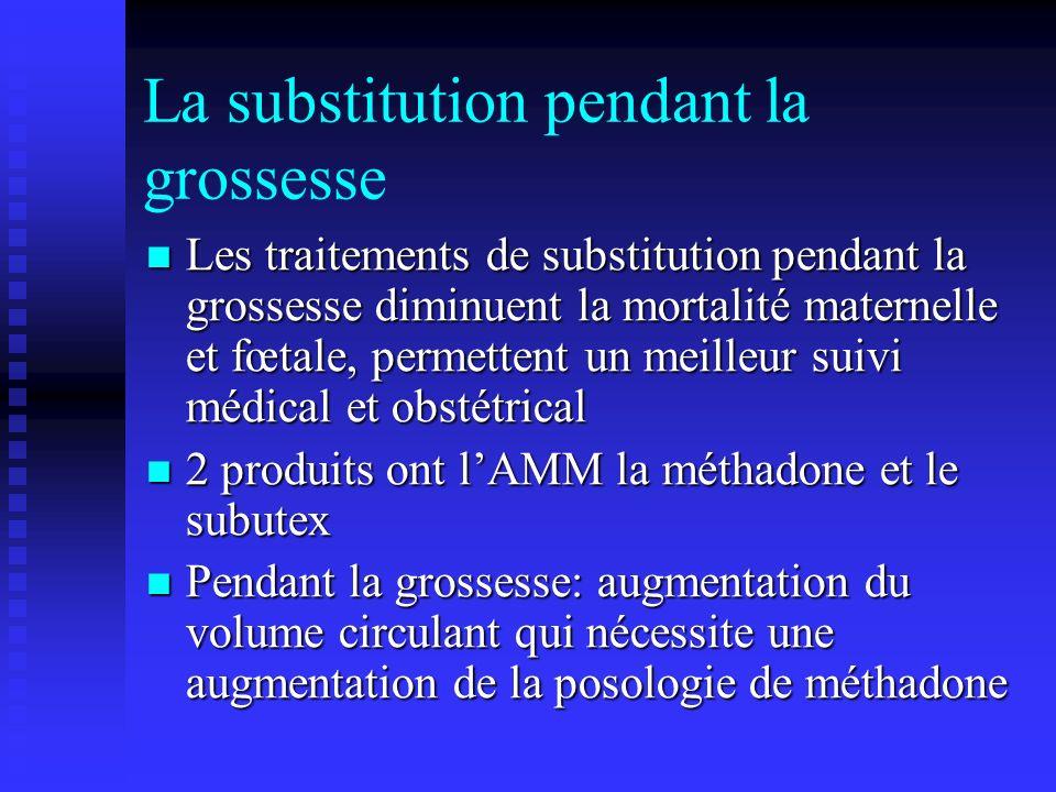 La substitution pendant la grossesse Les traitements de substitution pendant la grossesse diminuent la mortalité maternelle et fœtale, permettent un m