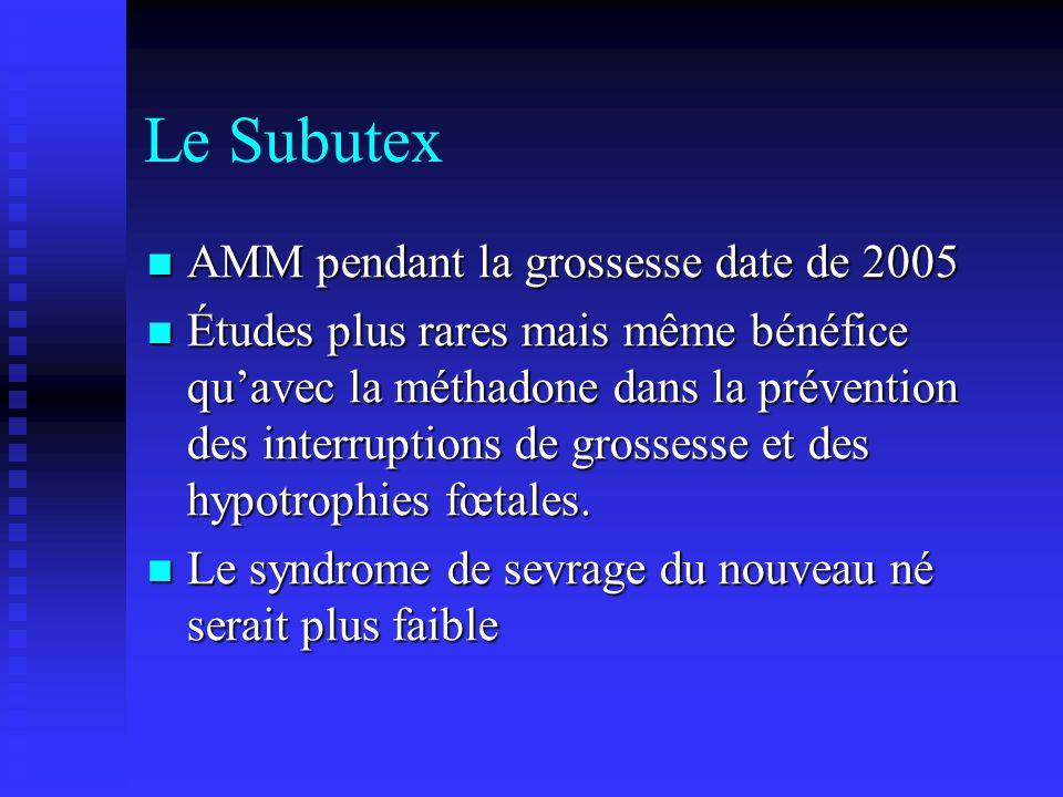 Le Subutex AMM pendant la grossesse date de 2005 AMM pendant la grossesse date de 2005 Études plus rares mais même bénéfice quavec la méthadone dans l
