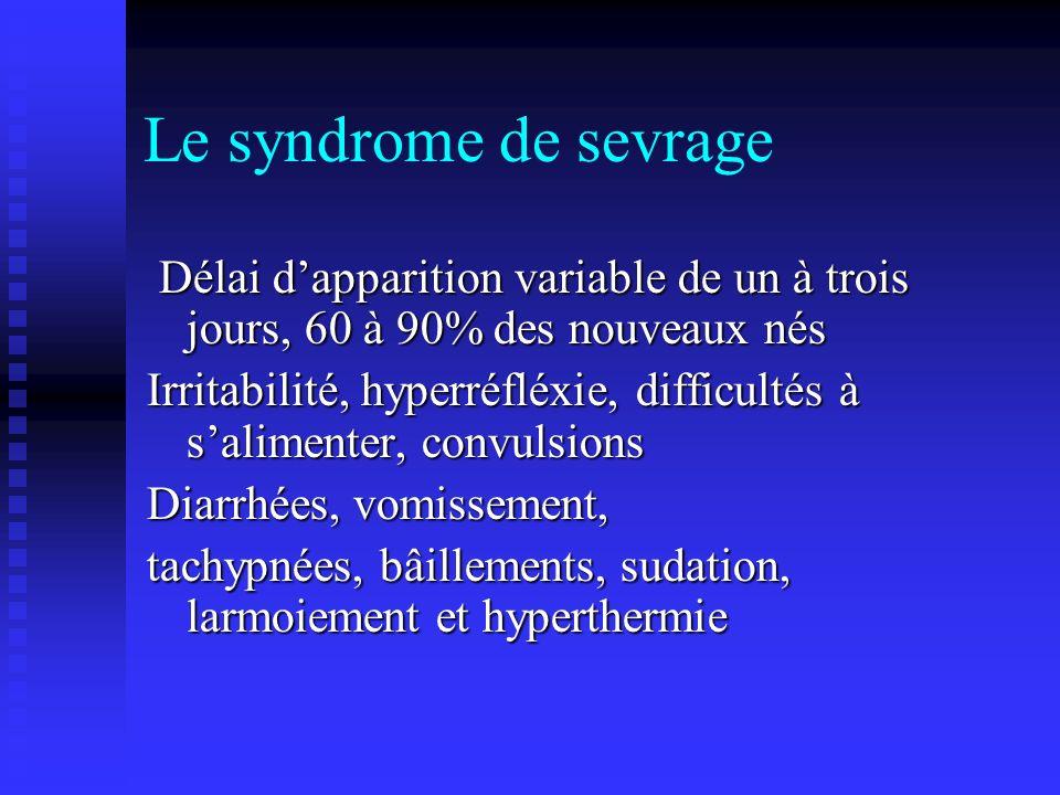 Le syndrome de sevrage Délai dapparition variable de un à trois jours, 60 à 90% des nouveaux nés Délai dapparition variable de un à trois jours, 60 à