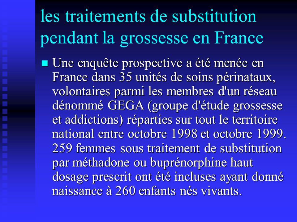 les traitements de substitution pendant la grossesse en France Une enquête prospective a été menée en France dans 35 unités de soins périnataux, volon