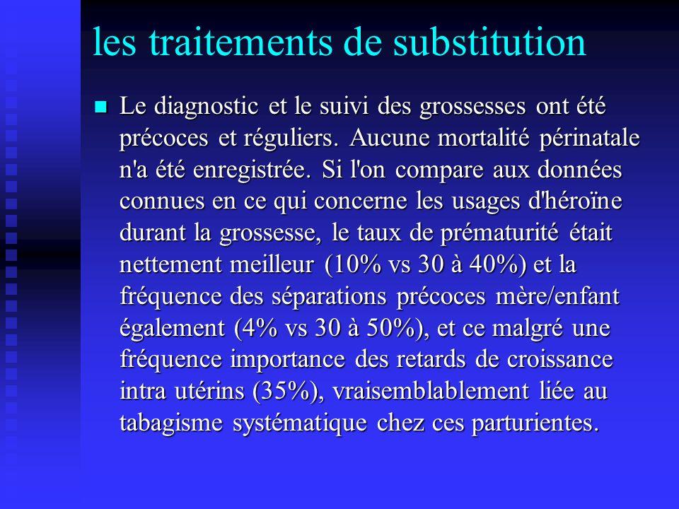 les traitements de substitution Le diagnostic et le suivi des grossesses ont été précoces et réguliers. Aucune mortalité périnatale n'a été enregistré