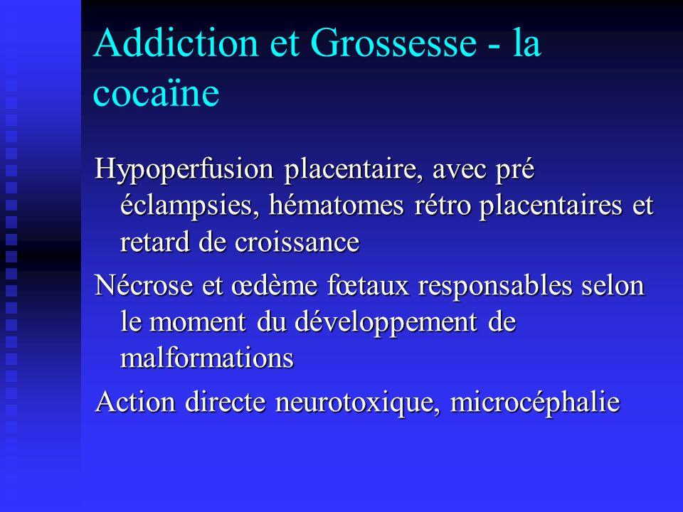 Addiction et Grossesse - la cocaïne Hypoperfusion placentaire, avec pré éclampsies, hématomes rétro placentaires et retard de croissance Nécrose et œd