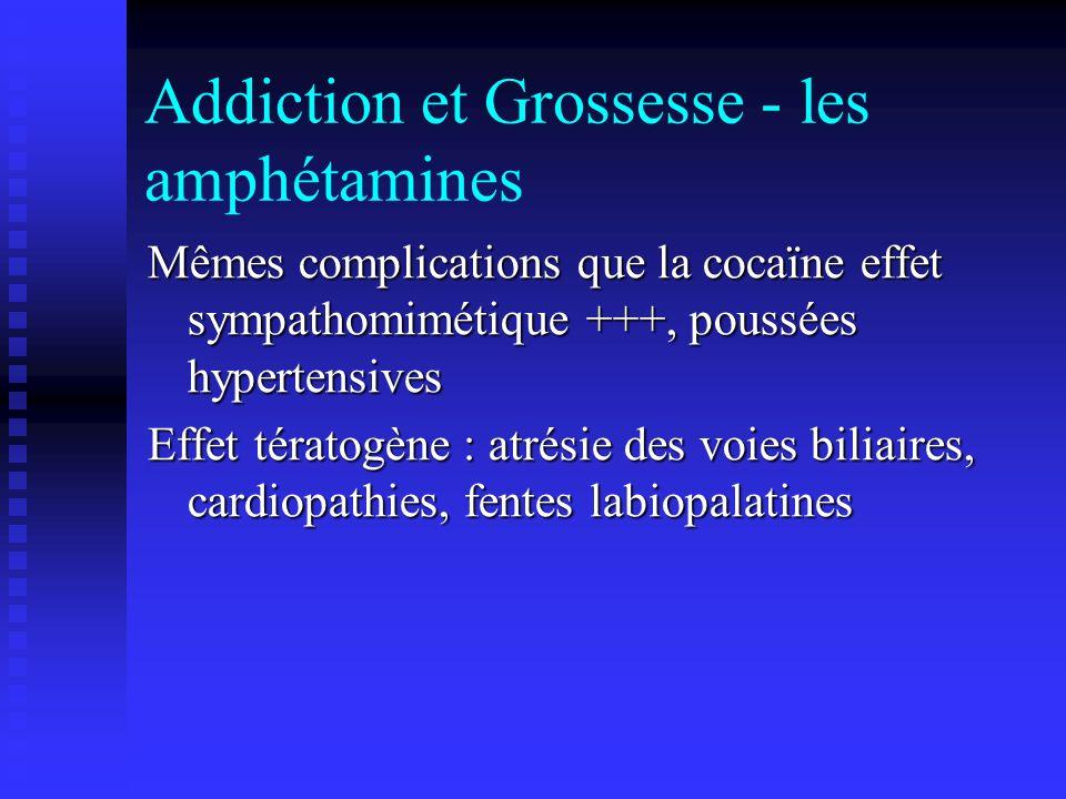 Addiction et Grossesse - les amphétamines Mêmes complications que la cocaïne effet sympathomimétique +++, poussées hypertensives Effet tératogène : at