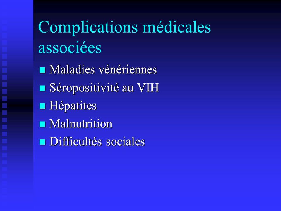 Complications médicales associées Maladies vénériennes Maladies vénériennes Séropositivité au VIH Séropositivité au VIH Hépatites Hépatites Malnutriti