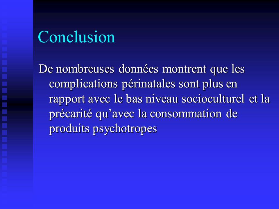 Conclusion De nombreuses données montrent que les complications périnatales sont plus en rapport avec le bas niveau socioculturel et la précarité quav