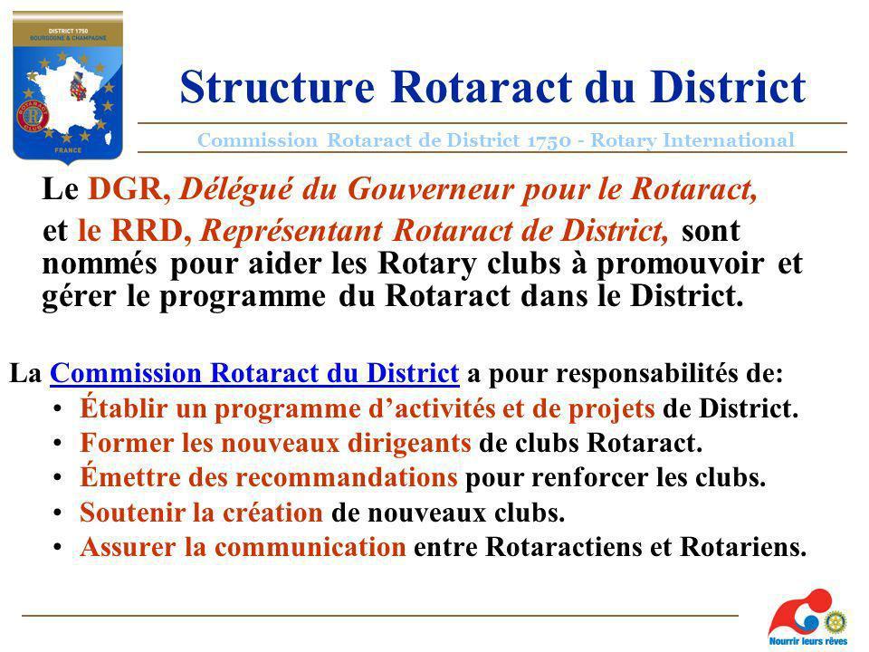 Commission Rotaract de District 1750 - Rotary International Structure Rotaract du District Le DGR, Délégué du Gouverneur pour le Rotaract, et le RRD, Représentant Rotaract de District, sont nommés pour aider les Rotary clubs à promouvoir et gérer le programme du Rotaract dans le District.