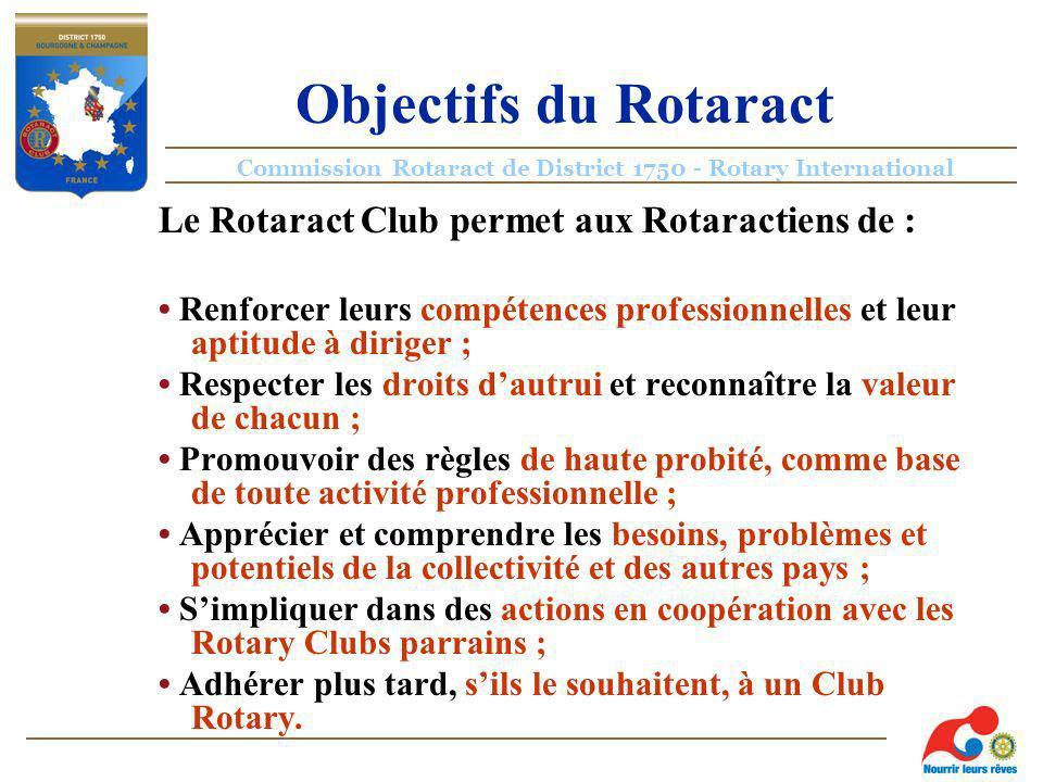 Commission Rotaract de District 1750 - Rotary International Objectifs du Rotaract Le Rotaract Club permet aux Rotaractiens de : Renforcer leurs compétences professionnelles et leur aptitude à diriger ; Respecter les droits dautrui et reconnaître la valeur de chacun ; Promouvoir des règles de haute probité, comme base de toute activité professionnelle ; Apprécier et comprendre les besoins, problèmes et potentiels de la collectivité et des autres pays ; Simpliquer dans des actions en coopération avec les Rotary Clubs parrains ; Adhérer plus tard, sils le souhaitent, à un Club Rotary.